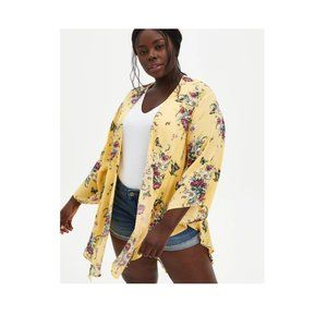 Torrid Yellow Floral Butterfly Crepe Shirttail Kimono Cardigan 2X or 18 / 20